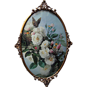 Paul de Longpre Roses Butterfly Vintage Print Antique Convex Glass Frame