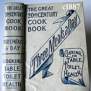c1887 Cook Book Meat Poultry Fish Pie Cake Ice Cream Table Etiquette Toilette Medicine Health Vegetables Antique