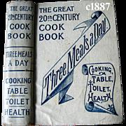 c1887 Cook Book Meat Poultry Fish Pie Cake Ice Cream Table Etiquette Toilette Medicine Health Vegetables Antique