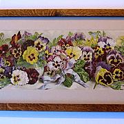 c1895 Antique Pansies Yard Long Print Grace Barton Allen