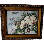 Paul de Longpre Vintage Print Roses Bird Butterfly Antique Frame