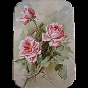 Antique Roses Print Mc Lennan Listed Artist Chromolithograph Victorian