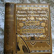 c1882 Gems of Deportment Book Etiquette Manners Dress Fashion Toilet Beauty Home Marriage Wedding Perfume Language of Flowers