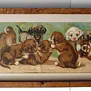 Sale 25% Off Puppies Yard Long Antique Print c1903 Chromolithograph Puppy