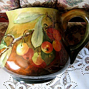 Sale 40% Off Cherry Pitcher Handpainted Cherries Antique Victorian Tankard