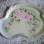 c1900 Pink Cabbage ROSES Limoges Dresser Tray Plate Guerin HP Antique Victorian