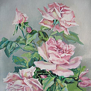 Sale 30% Off Vintage Roses Painting Oil on Canvas Catherine Klein