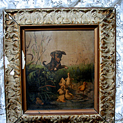 Sale 30% Off c1868 Duckling Puppy Antique Print by Prang The Frightened Ducklings
