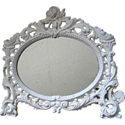 Roses Mirror Cast Iron Oval Fancy Filigree c1920s Old Vintage
