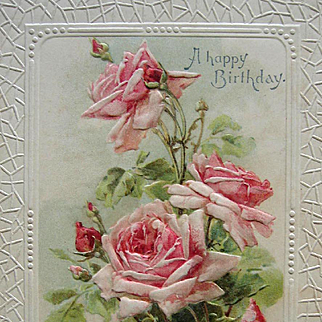 c1890s Catherine Klein Pink Cabbage Roses Print Chromolithograph Rose Flower