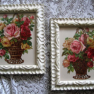 Two c1890 Roses Die Cut Print s Matching Pair Chromolithograph Tuck