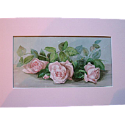 c1896 Pink Cabbage Roses The Three Bridesmaids Chromolithograph Half Yard Long Print J Bullis