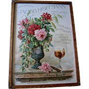 Roses Beer Cigar Print Paul de Longpre c1890 Chromolithograph XL Book Author Autograph Cabbage Rose Flower Floral Prohibition Jacob Hoffmann Brewing Company