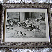 Five O Clock Tea Print Dog Cat Chicken Duck Farm W H Trood Breakfast Time Antique