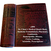 c1887 Quack Medicine Dr Chases Medical Book Abortion Fertility Toilette Cosmetics Health Cures Pharmacy Phrenology Household Cook book Animal Husbandry Home Care