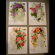 c1914 Paul de Longpre Flower Calendar Print s Singer Sewing Violets Lilacs Nasturtiums Carnations Bees Butterflies