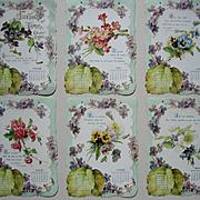 c1901 Violets Calendar Die Cut Print s Roses Pansies Chromolithograph Framed