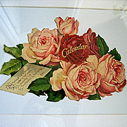 c1890s Cabbage Roses Mechanical Calendar Print Catherine Klein Chromolithograph Die Cut