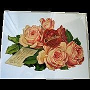 c1890s Cabbage Roses Mechanical Calendar Print Catherine Klein Chromolithograph Die Cut