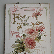 c1895 Catherine Klein Flower Calendar 12 Panel Print s Tuck Roses Pansies Violets Lilacs Poppies Daffodils Daisies