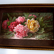 Antique Rose Print Paul de Longpre A Bunch of Cut Roses Chromolithograph Bees Half Yard Long Unframed Proof