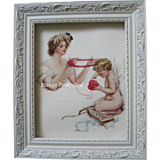 c1909 Victorian Lady Cupid Print Harrison Fisher Yarn Heart Quiver Bow Arrow Valentine