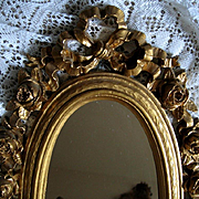 Vintage Barbola Roses Mirror Gold French Ribbon Syroco