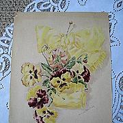 c1895 Pansy Print Antique Victorian Pansies Print La Praik Chromolithograph Flower Floral Pansy