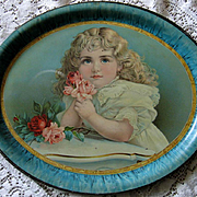 Antique Girl Roses Advertising Tin Tray