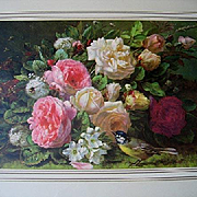 Roses Print Robie Fragrance in Bloom Vintage Old Frame