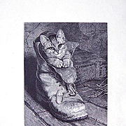 c1880 Antique Kitten Cat Engraving Puss in Boots Shoe
