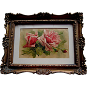 Catherine Klein 1890s Pink Roses Print Card Chromolithograph