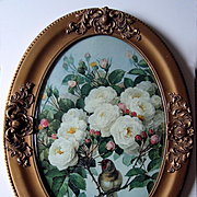 Paul de Longpre Roses Bird Print Antique Oval Barbola Frame Convex Bubble Glass