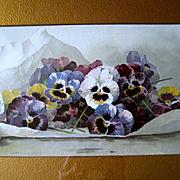 Pansies Print Paul de Longpre Spring Favorites Original Frame Mat Antique Victorian Book Author Autographed