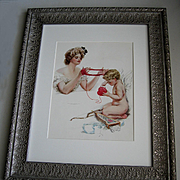 c1909 Victorian Lady Cupid Print Harrison Fisher Yarn Valentine Heart Quiver Bow Arrow