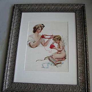 c1909 Victorian Lady Cupid Print Harrison Fisher Yarn Valentine Heart Quiver Bow Arrow