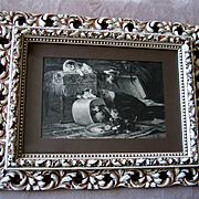 c1884 Henriette Ronner Cat Kitten Print Antique Fancy Frame Preparation for Travel