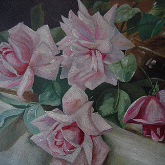 C1890 Antique Roses Oil Canvas Painting Rose Bowl Patty Thum
