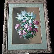 c1890 Raoul de Longpre Roses Lilacs Original Watercolor Painting Museum Quality Listed Paul de Longpre Brother
