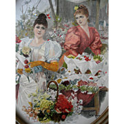 c1890s Lady Flower Print The First Blooms of Spring Wilhelm Gause Oval Barbola Roses Frame Tulip Lily of the Valley Lily Flower Market