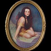 Fairy Girl Antique  Print William Sargeant Kendall c1900 Vintage Oval Frame Homco Cupid Cherub Lady