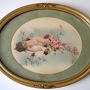 Antique Cupid Roses Print Virgilio Tojetti c1900