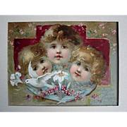 c1890s Woolson Spice Cupid Print Dove Lily Roses Easter