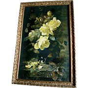 c1900 Roses Print Frans Mortelmanns Antique Frame Intact Half Yard Long