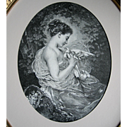 Antique Lady Dove Print Charles Chaplin The Sweetheart c1880