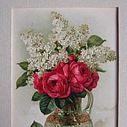 Paul de Longpre Roses and Lilacs Print c1890s