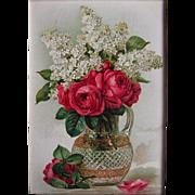 Paul de Longpre Roses and Lilacs Print c1890s