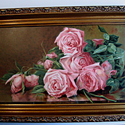 c1898 Antique Roses Print Original Frame Marsh Chromolithograph Half Yard Long