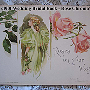 c1901 Wedding Book Roses on Your Way Antique Rose Lady Flowers