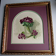 c1897 Violets Print Antique Victorian Mary Hart Chromolithograph